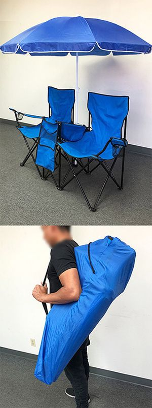 (New in box) $35 Portable Folding Picnic Double Chair w/ Umbrella Table Cooler Beach Camping Chair for Sale in Whittier, CA