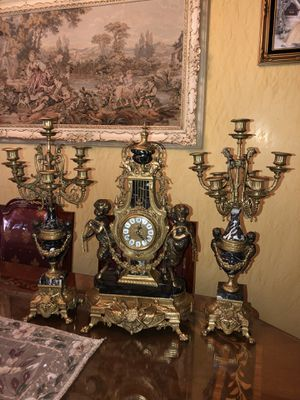 "Imperial Italian black marble mantel clock and candelabra set (clock 2ft x 14"" x 8"" - candelabra 2ft x 10"" x 10"") working for Sale in Pico Rivera, CA"