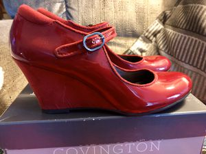 Covington Red Patent Leather Wedge Heel Shoes Women's Sz. 7 1/2 M Perfect for Halloween 🎃 for Sale in Burlington, NJ