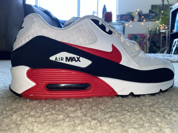 Nike Air Max 90 White University Red Black