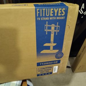 FITUEYES Brand Tv Stand With Mount Swivels And Has 2 Glass Shelves. Stand weighs 35lbs. Holds up to 55lb tv. for Sale in Portsmouth, VA