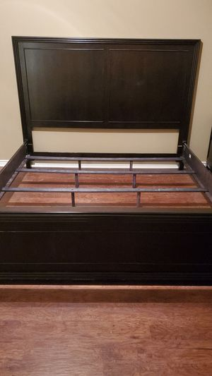 Hardwood King Sized Bedframe with 2 Nightstands for Sale in Whitehouse, TX