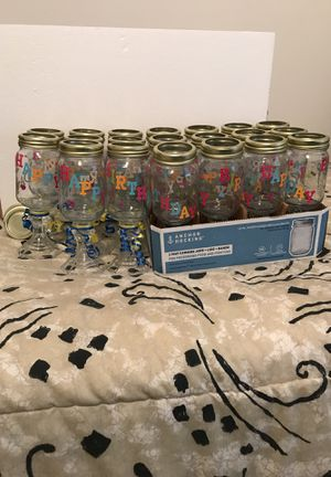 Birthday jars you can put flowers in or fill with candy, etc. for Sale in Quincy, IL