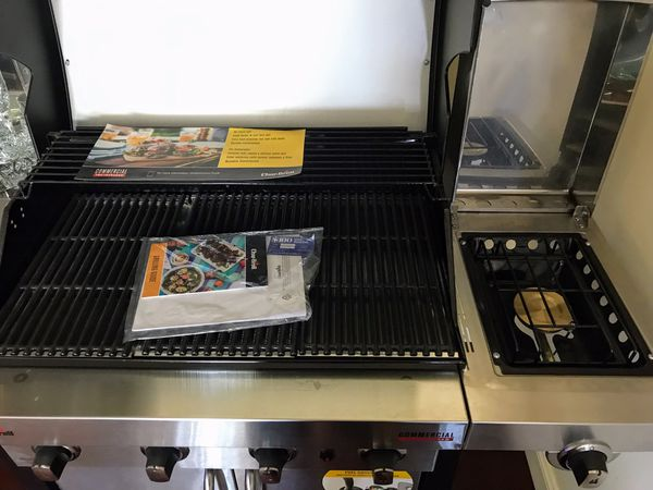 New-Charbroil Stainless Grill w/side burner $300