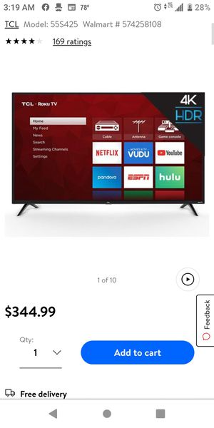 55 inch TCL Roku tv for Sale in Jacksonville, FL