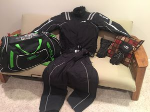 Snowmobile suite and boots and bag and gloves for Sale in North Aurora, IL