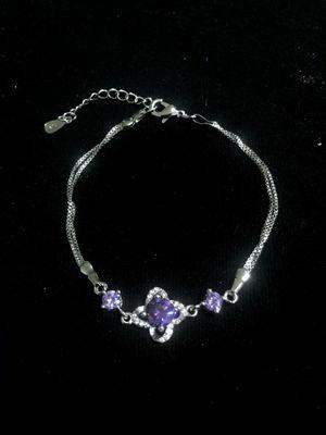 Sterling Silver / Double Band Purple CZ Bracelet for Sale in Las Vegas, NV