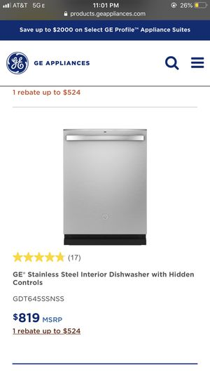 GE Stainless Steel Interior Dishwasher for Sale in San Diego, CA