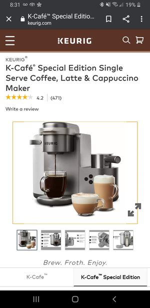 NEW Keurig k cafe special edition I cup coffee maker/ cappuccino/ latte maker. With milk frother for Sale in Kissimmee, FL