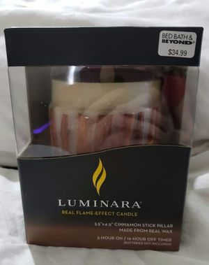 """BRAND NEW Luminara Real Flame Effect Candle, 3.5""""×4.5"""" Cinnamon Stick Pillar, made from real wax. 5 hour on/19 hour off timer. for Sale in Fort Worth, TX"""