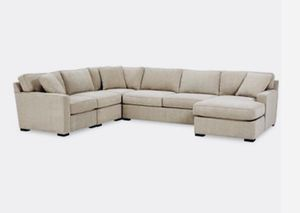 NEW‼️Macy's 5 PIECE (chaise on end) Large Sectional sofa PLUS MATCHING STORAGE OTTOMAN neutral color for Sale in Boca Raton, FL