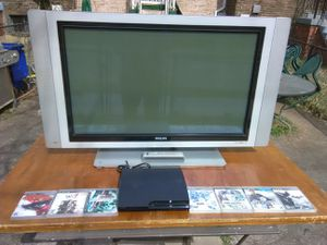 Phillips 42 inch TV with remote control and HDMI port and PS 3 slim bundle for Sale in Washington, DC