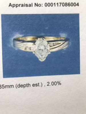 Size 6 marquis diamond ring with wedding band. Matching men's band size 9 appraisal paperwork with ring included for insurance value. Price 6850 for for Sale in Charlotte, NC