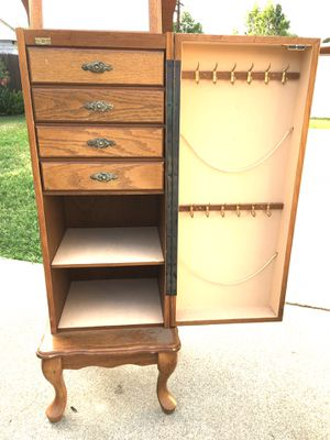 Jewelry Cabinet- Solid Oak! Has lots of Storage Below- Drawers & Door to hang necklaces! **Read Description** for Sale in West Covina, CA