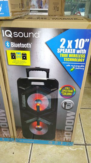 """IQ Sound 2×10"""" Speakers with true wireless technology with rechargeable battery for Sale in Tulare, CA"""