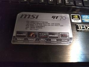 MSi GT70 Gaming Laptop GTX 675M 2GB DDR5 12 GB Ram 750GB HDD i7 3rd Gen 17.3 Screen for Sale in Houston, TX