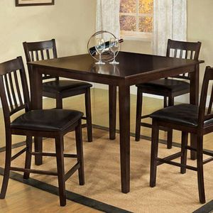 Espresso Finish 5 piece COUNTER HEIGHT DINING TABLE SET for Sale in Riverside, CA