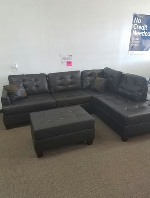 [F6855] 3-PCS SECTIONAL BONDED LEATHER ESPRESSO W/ OTTOMAN [ONLY $50 DOWN AND 90 DAYS TO PAY SAME AS CASH] for Sale in Irving, TX
