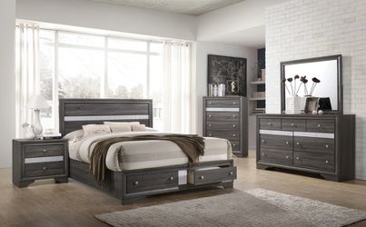 Modern Dark Grey Bedroom Set Bed w/ Drawers for Sale in Federal Way,  WA