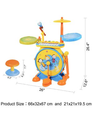 BAOLI 2-in-1 Children Musical Instrument Boy & Girl Electronic Rock Roll Jazz Drum Kit Set with Piano Keyboard and Microphone and Stool for Sale in Las Vegas, NV