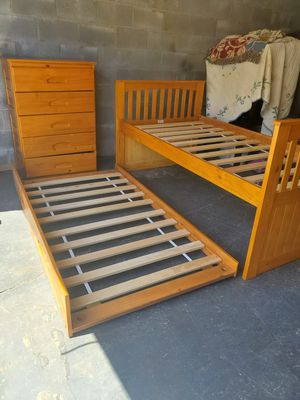 TWIN BED WITH ROLL OUT TRUNNEL & CHEST OF DRAWERS for Sale in Greenville, SC