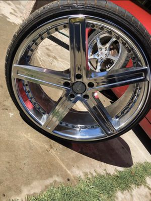 "22"" Chrome D Centi Rims Including 90% Thread Tires for Sale in Fresno, CA"