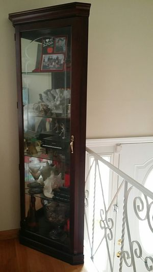 Corner glass cabinet made in USA for Sale in Richboro, PA