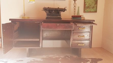 Mid Century Modern Solid Wood Typewriter. Home Office Desk for Sale in Los Angeles,  CA
