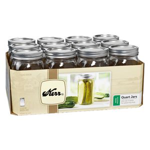 Kerr Wide Mouth Quart Canning Mason Jars, Lids & Bands Clear Glass, 32 Oz, 12 Pk for Sale in San Gabriel, CA