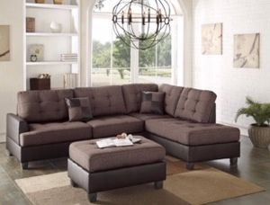 3-Pcs-Chocolate Sectional-Sofa-Set w/Ottoman for Sale in Modesto, CA