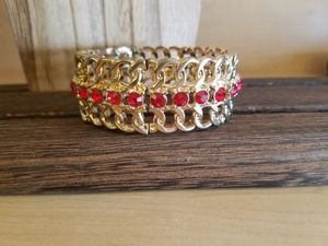 Gold and Red Rhinestone Stretch Metal Bracelet for Sale in Hubbard, OR