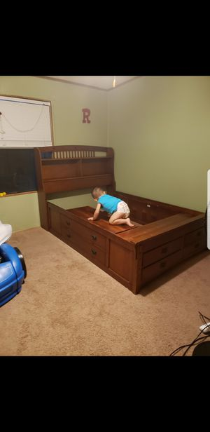 Full size bed frame (Solid wood/Mattres not included) for Sale in Tampa, FL