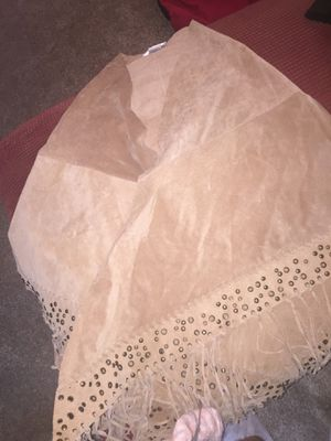 Genuine Leather Poncho with Fringe Details for Sale in Silver Spring, MD
