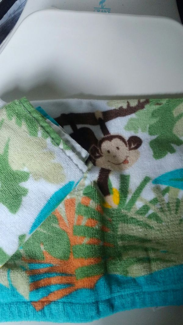Monkey shower curtain and two washclothes
