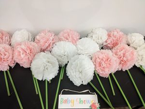 16 (8 white & 8 pink) Paper flowers that can be placed in the yard for Sale in Bristol, PA