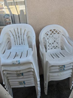 Plastic Patio White Chairs (15 chairs) for Sale in Rosemead, CA