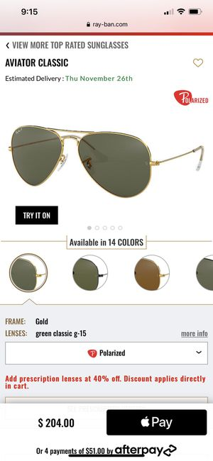 RayBan Original Aviator Polarized Sunglasses for Sale in Rockville, MD
