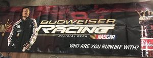 """Budweiser Racing Banner with Dale Earnhardt Jr. and Slogan """"Who are you Runnin' with?"""" for Sale in West Palm Beach, FL"""