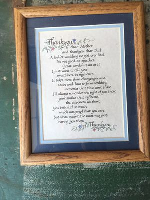 Bride to parents framed letter for Sale in Willow Springs, IL