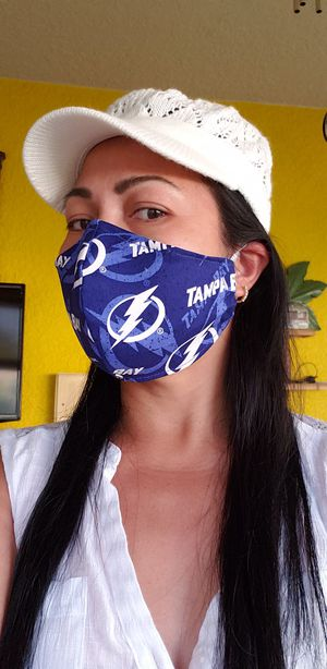 TAMPA BAY LIGHTNING HANDMADE FACE MASK COTTON SPORTS TEAM FABRIC WASHABLE NEW MADE IN USA for Sale in St. Cloud, FL