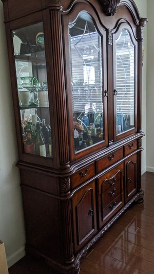 Dish Glass Cabinet and Dinner Table with Chairs for Sale in Manteca, CA
