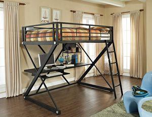 Black (Not Ikea) Twin Size Loft w/Desk (NO MATTRESS) $250 w/Delivery for Sale in Saint Paul, MN