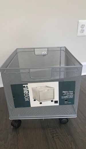 Container Store Silver Mesh Stackable File Crate for Sale in Bowie, MD