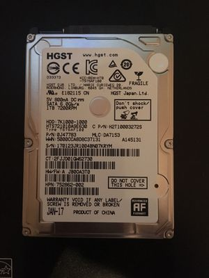 Sata Hard Drive HDD 1TB 7200rpm for Laptop or Desktop Computer WIN10 Installed for Sale in Houston, TX