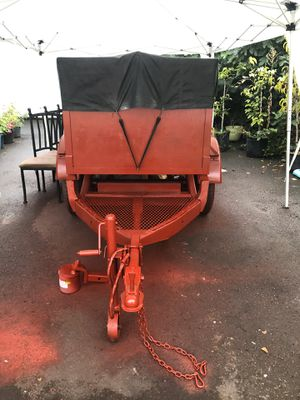 Selling a custom built utility trailer built on a half ton pickup axle. Trailer is 4'x6' with hinged back and water proof top. Tires are new for Sale in Portland, OR