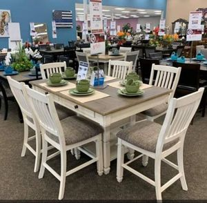♡ FREE DELIVERY🚚 Brand New Antique White/Oak 7-Piece Counter Height Set ♡Table & 6 Chairs included ♡ 39 DOWN PAYMENT☆ for Sale in Houston, TX