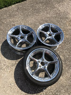 Rare staggered 5x120 BBS BMW 18 INCH RIMS Z3/Z4 + 1 NEW TIRE for Sale in Houston, TX