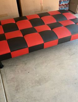 Brand New Black & Red Leather Checkered Tufted Futon for Sale in Renton,  WA