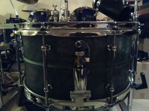 Pork Pie 7in x 13in green patina on brass shell snare drum for Sale in Clinton, MD