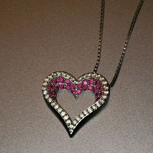 """Sterling Silver Heart Pendant Decorated With Rubies And Diamonds With 22"""" Chain for Sale in North Brunswick Township, NJ"""